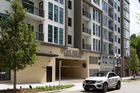 Entrance to Resident Parking at Camden Lake Eola Apartments in Downtown Orlando, Florida