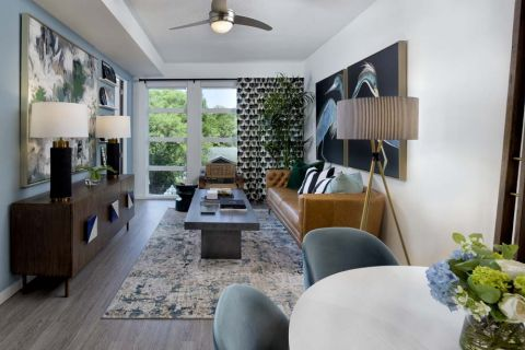 Living Room at Camden Lake Eola Apartments in Downtown Orlando, Florida