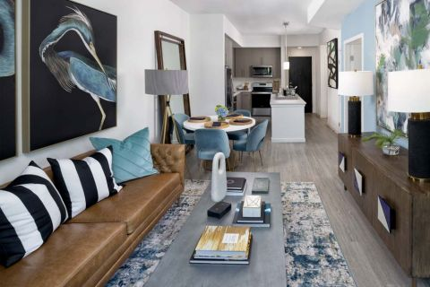 Mocha Kitchen and Living Room at Camden Lake Eola Apartments in Downtown Orlando, Florida