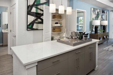 Mocha Kitchen with Kitchen Island at Camden Lake Eola Apartments in Downtown Orlando, Florida
