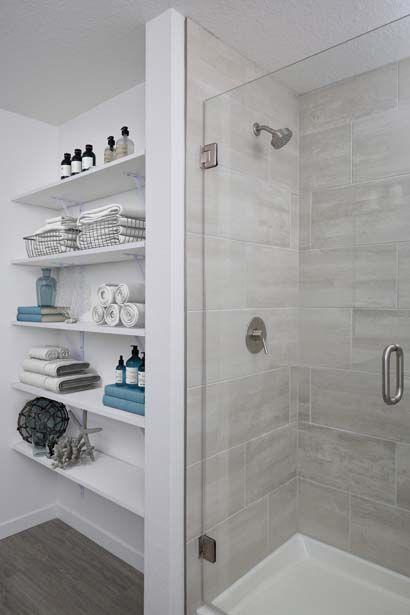 The B1 Mocha Finish Walk In Shower at Camden Lake Eola Apartments in Downtown Orlando, Florida