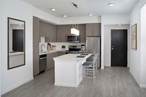 The B1 Mocha Finish Kitchen at Camden Lake Eola Apartments in Downtown Orlando, Florida