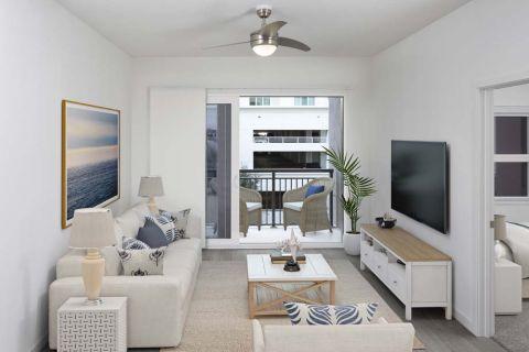 The A4 Mocha Finish Floor Plan at Camden Lake Eola Apartments in Downtown Orlando, Florida