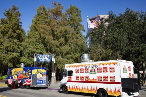 History Center food trucks near Camden Lake Eola Apartments in Downtown Orlando, Florida