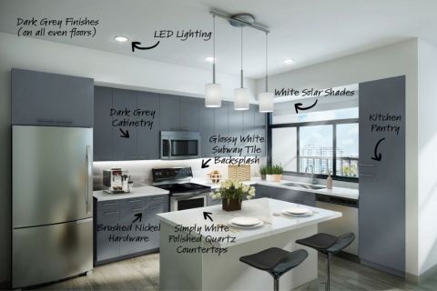 Kitchen with Grey Finishes at Camden Lake Eola in Downtown Orlando, Florida