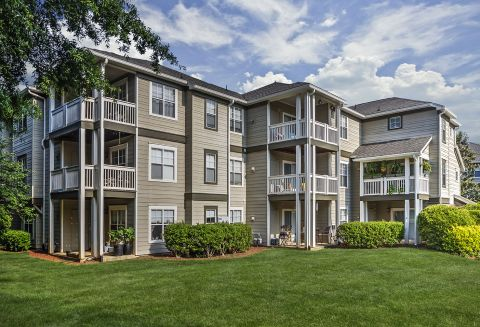 Corner Balconies at Camden Lake Pine Apartments in Apex, NC