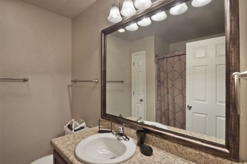 Bathroom at Camden Lake Pine Apartments in Apex, NC