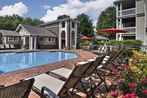 Pool at Camden Lake Pine Apartments in Apex, NC