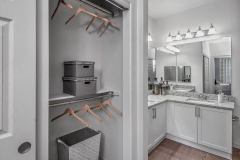 Spacious Closet and Bathroom at Camden Lakeway Apartments in Lakewood, CO