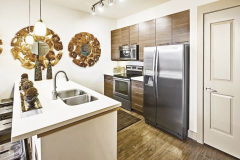 Kitchen with Stainless Steel Appliances at Camden Lamar Heights Apartments in Austin, TX