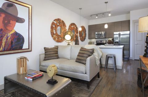 Open-Concept Living and Kitchen at Camden Lamar Heights Apartments in Austin, TX