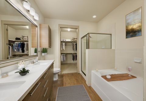 Bathroom with Dual Vanity Sinks, Tub and Stand Up Shower at Camden Lamar Heights Apartments in Austin, TX