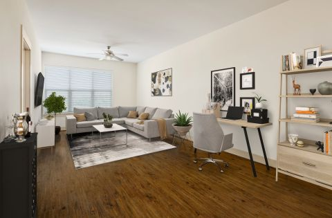 Living Room and Work Space at Camden Lamar Heights Apartments in Austin, TX