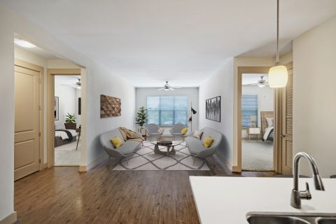 Two Bedroom Living Space at Camden Lamar Heights Apartments in Austin, TX
