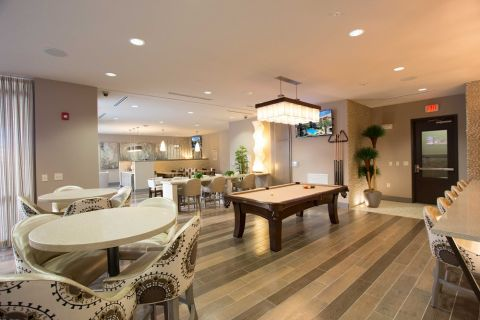 Resident Lounge with Billiards and Seating at Camden Lamar Heights Apartments in Austin, TX