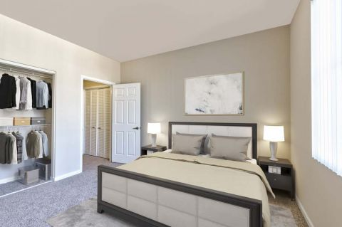 Bedroom with Large Closet at Camden Landmark Apartments in Ontario, CA