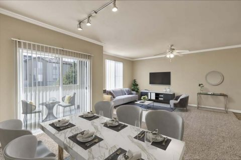 Dining and living room at Camden Landmark Apartments in Ontario, CA