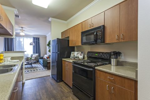 Kitchen and Living Room at Camden Landmark Apartments in Ontario, CA