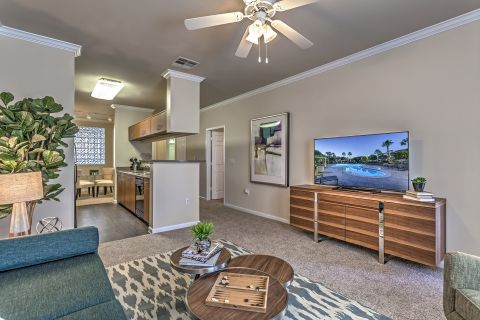 Living Room and Kitchen at Camden Landmark Apartments in Ontario, CA