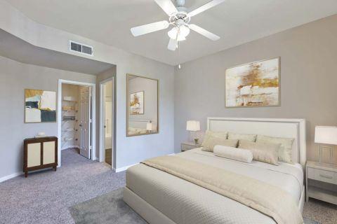 Main Bedroom with Walk In Closet and EnSuite Bathroom at Camden Landmark Apartments in Ontario, CA