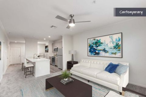 Open Concept Living Room with Wood-Style Flooring at Camden Landmark Apartments in Ontario, CA