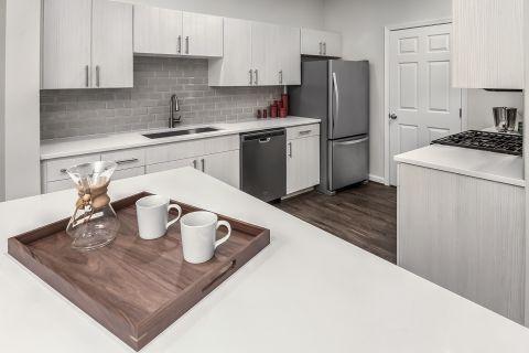 Kitchen with Quartz Countertops at Camden Lansdowne Apartments in Lansdowne, VA
