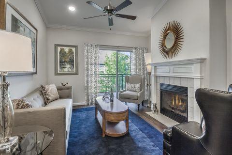 Living Room and Balcony at Camden Lansdowne Apartments in Lansdowne, VA
