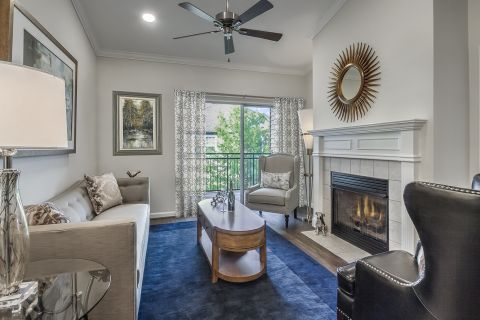 Living Room and Balcony at Camden Lansdowne Apartments in Lansdowne, VA