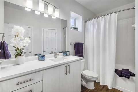 Bathroom with Quartz Countertops and Garden Tub at Camden Lansdowne Apartments in Lansdowne, VA