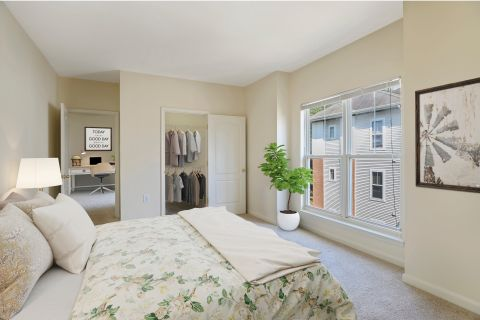 Bedroom and home office space at Camden Largo Town Center Apartments in Largo, MD