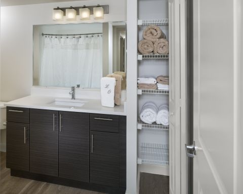 Bathroom at Camden Las Olas Apartments in Fort Lauderdale, FL