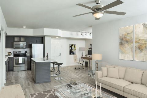 Kitchen and Living Room at Camden Las Olas Apartments in Fort Lauderdale Florida
