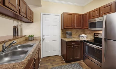 Kitchen with Stainless Steel Appliances at Camden Legacy Creek Apartments in Plano, TX