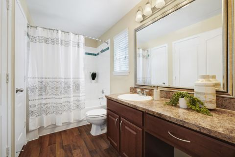 Bathroom at Camden Legacy Creek Apartments in Plano, TX