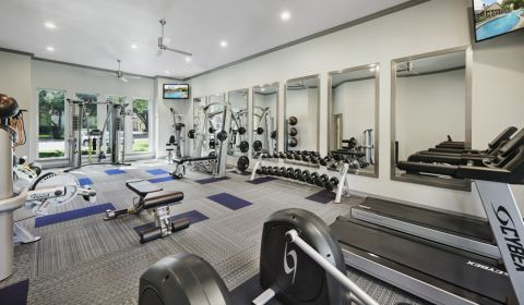 Fitness Center with cardio equipment at Camden Legacy Creek Apartments in Plano, TX