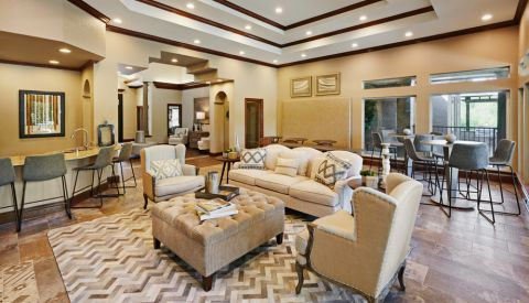 Resident Lounge with Kitchen at Camden Legacy Creek Apartments in Plano, TX