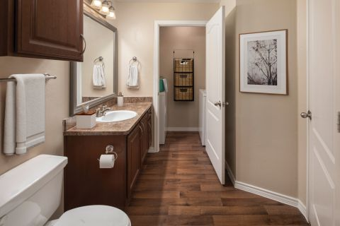 Bathroom with Laundry Room at Camden Legacy Creek Apartments in Plano, TX