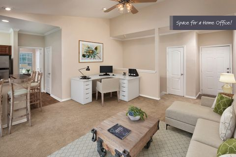 Top Floor Living Room with Home Office Space at Camden Legacy Creek Apartments in Plano, TX