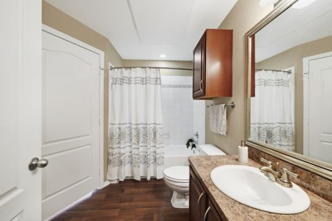 Bathroom at Camden Legacy apartments in Plano, TX