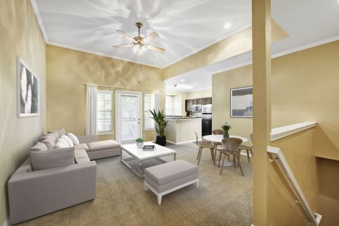 Living Room at Camden Legacy Creek Apartments in Plano, TX