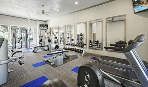Fitness Center with cardio equipment at Camden Legacy apartments in Plano, TX