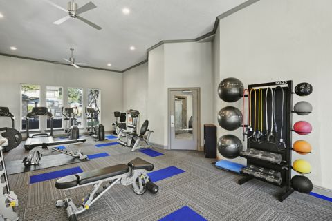 Fitness Center with free weights at Camden Legacy apartments in Plano, TX