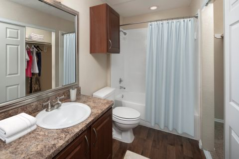 Bathroom and Closet at Camden Legacy Park Apartments in Plano, TX