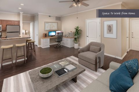 Living Room and Home Office Space at Camden Legacy Park Apartments in Plano, TX