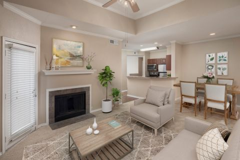 Top Floor Living Room at Camden Legacy Park Apartments in Plano, TX