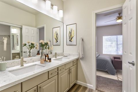 Bathroom with Dual Vanity Sinks in Two Bedroom B4 Floor Plan at Camden Legacy Apartments in Scottsdale, AZ