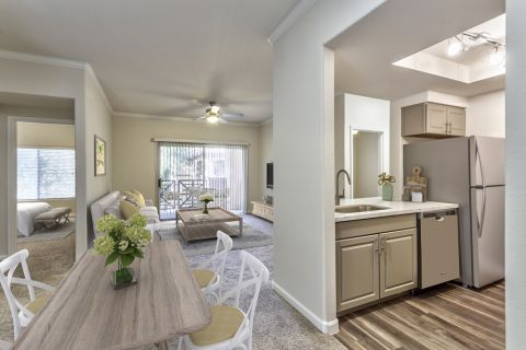 Kitchen, Dining and Living Room in Two Bedroom B2 Floor Plan at Camden Legacy Apartments in Scottsdale, AZ