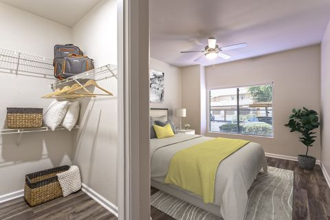 Bedroom and Walk-In Closet at Camden Legacy Apartments in Scottsdale, AZ