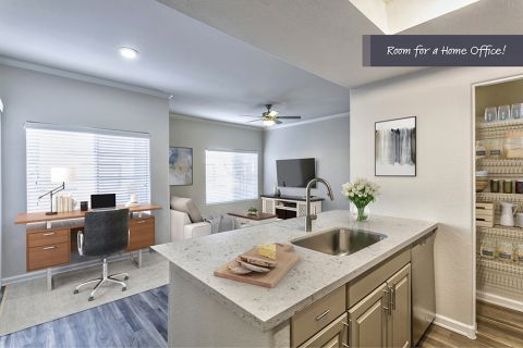 Kitchen with Space to Work From Home in One Bedroom A2 Floor Plan at Camden Legacy Apartments in Scottsdale, AZ