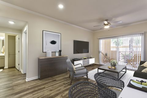 Floor plan with hardwood-style flooring throughout at Camden Legacy Apartments in Scottsdale, AZ